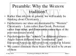 preamble why the western tradition