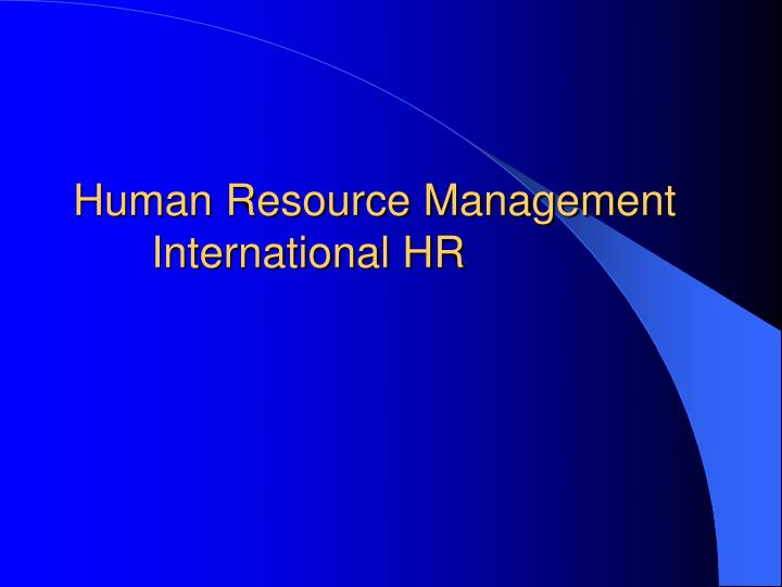 human resource management international hr n.