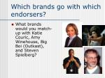 which brands go with which endorsers