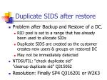duplicate sids after restore