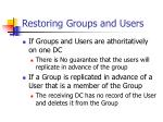 restoring groups and users