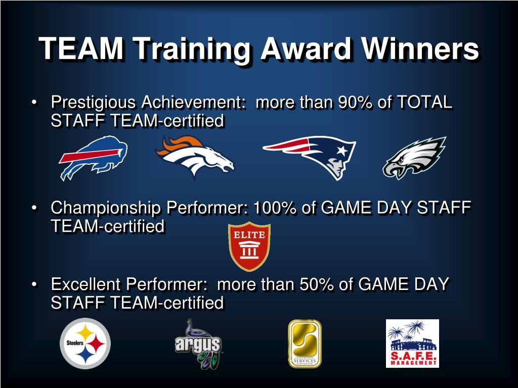TEAM Training Award Winners