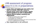 lmb assessment of progress since 9 11 01 in preparedness