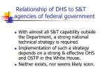 relationship of dhs to s t agencies of federal government