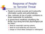 response of people to terrorist threat