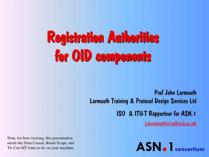 registration authorities for oid components n.