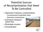potential sources of recontamination that need to be controlled