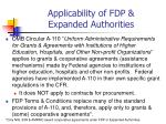 applicability of fdp expanded authorities
