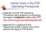 handy tools in the fdp operating procedures