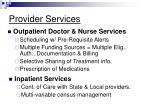 provider services