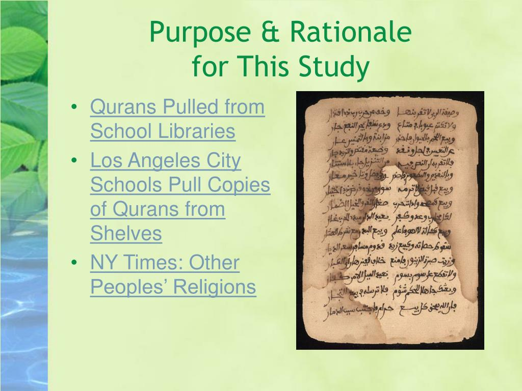 Purpose & Rationale