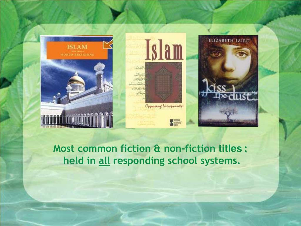 Most common fiction & non-fiction