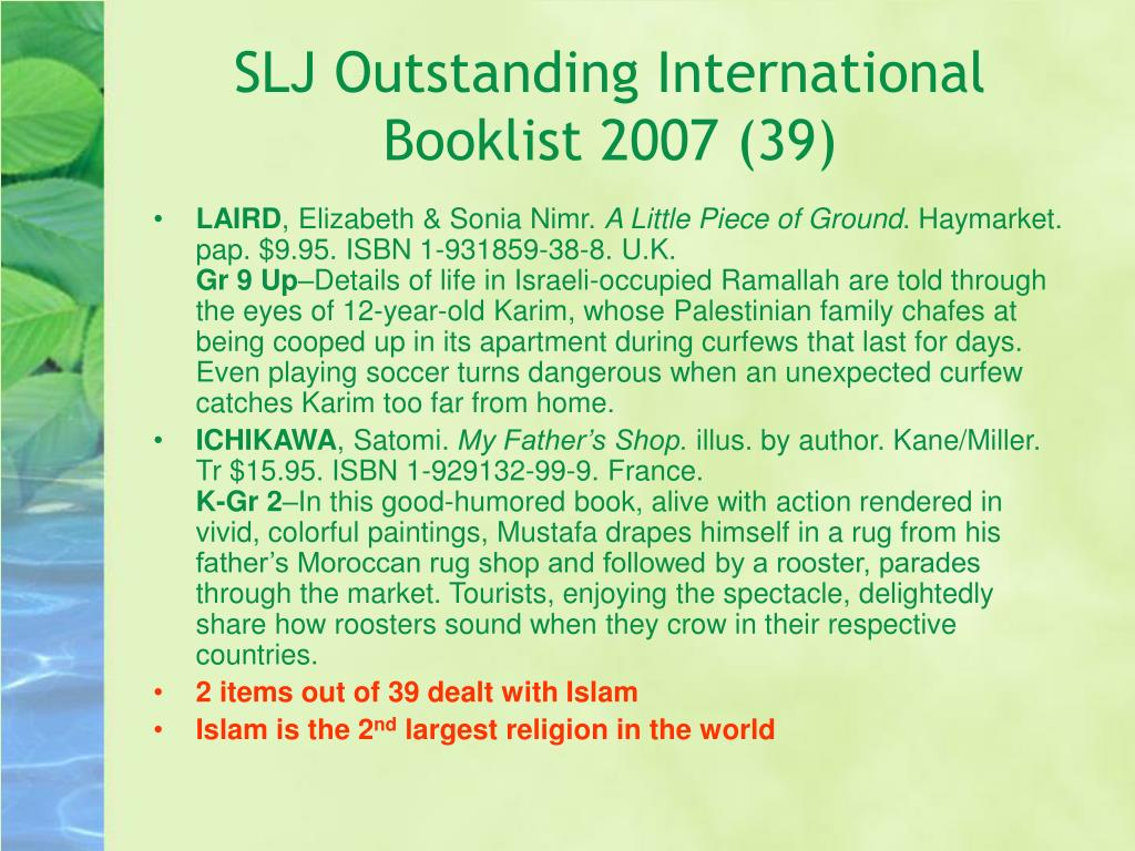 SLJ Outstanding International Booklist 2007 (39)
