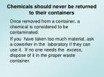 chemicals should never be returned to their containers