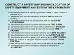 construct a safety map showing location of safety equipment and exits in the laboratory
