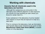 working with chemicals