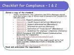 checklist for compliance 1 2