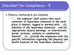 checklist for compliance 5