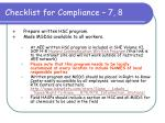 checklist for compliance 7 8