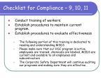 checklist for compliance 9 10 11