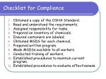 checklist for compliance