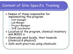 content of site specific training