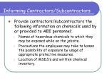 informing contractors subcontractors