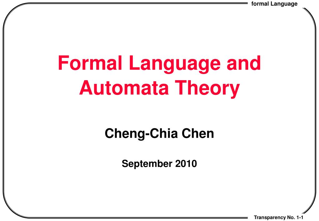 formal language and automata theory l.