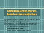 selecting elective courses based on career objectives