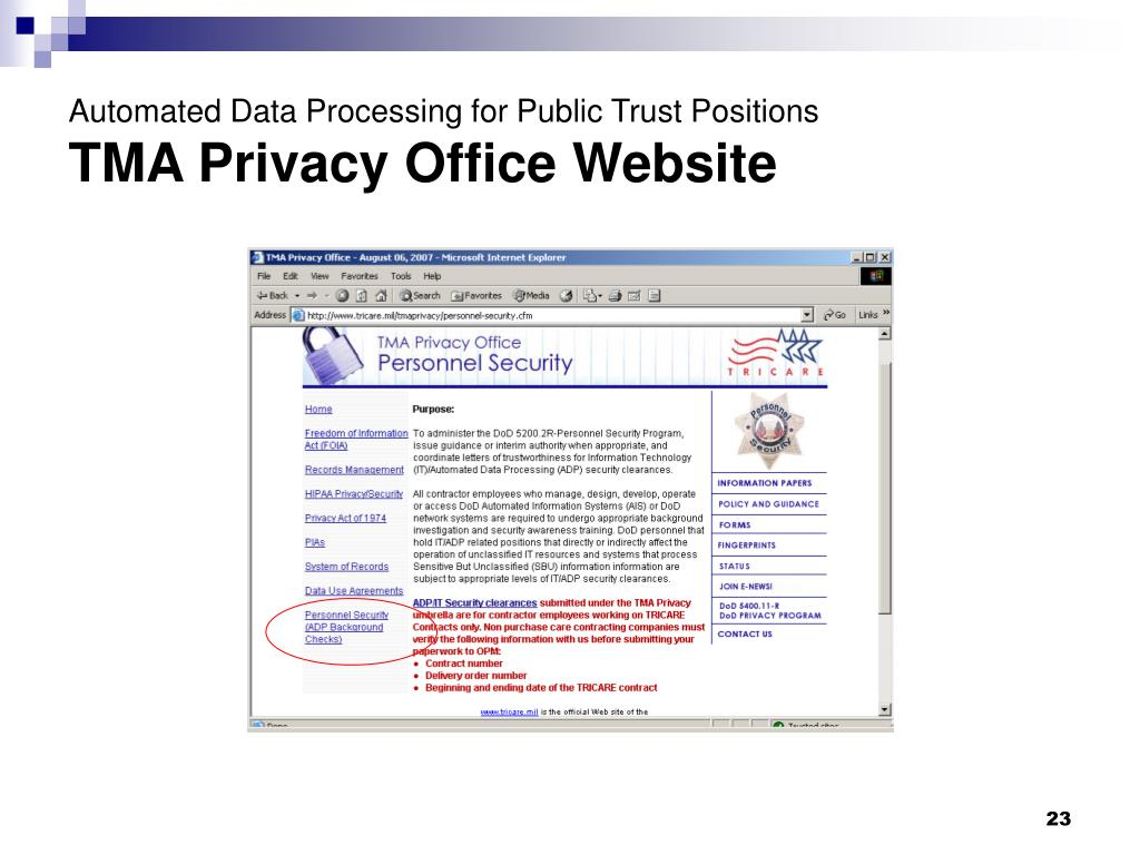 PPT - Automated Data Processing for Public Trust Positions
