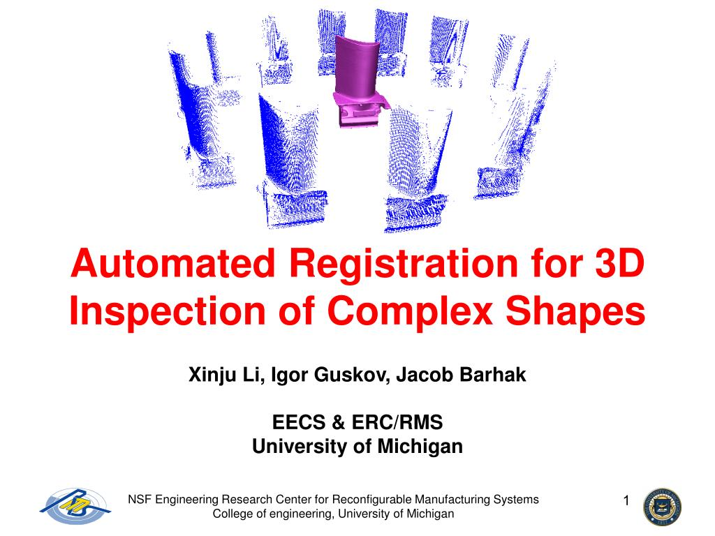automated registration for 3d inspection of complex shapes l.