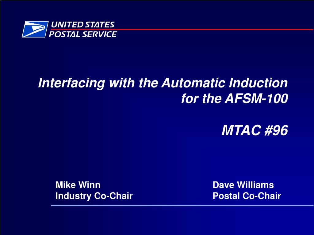 interfacing with the automatic induction for the afsm 100 mtac 96 l.
