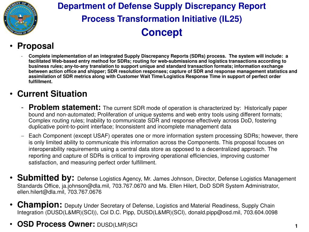 department of defense supply discrepancy report process transformation initiative il25 concept l.