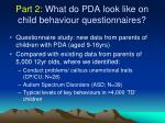 part 2 what do pda look like on child behaviour questionnaires