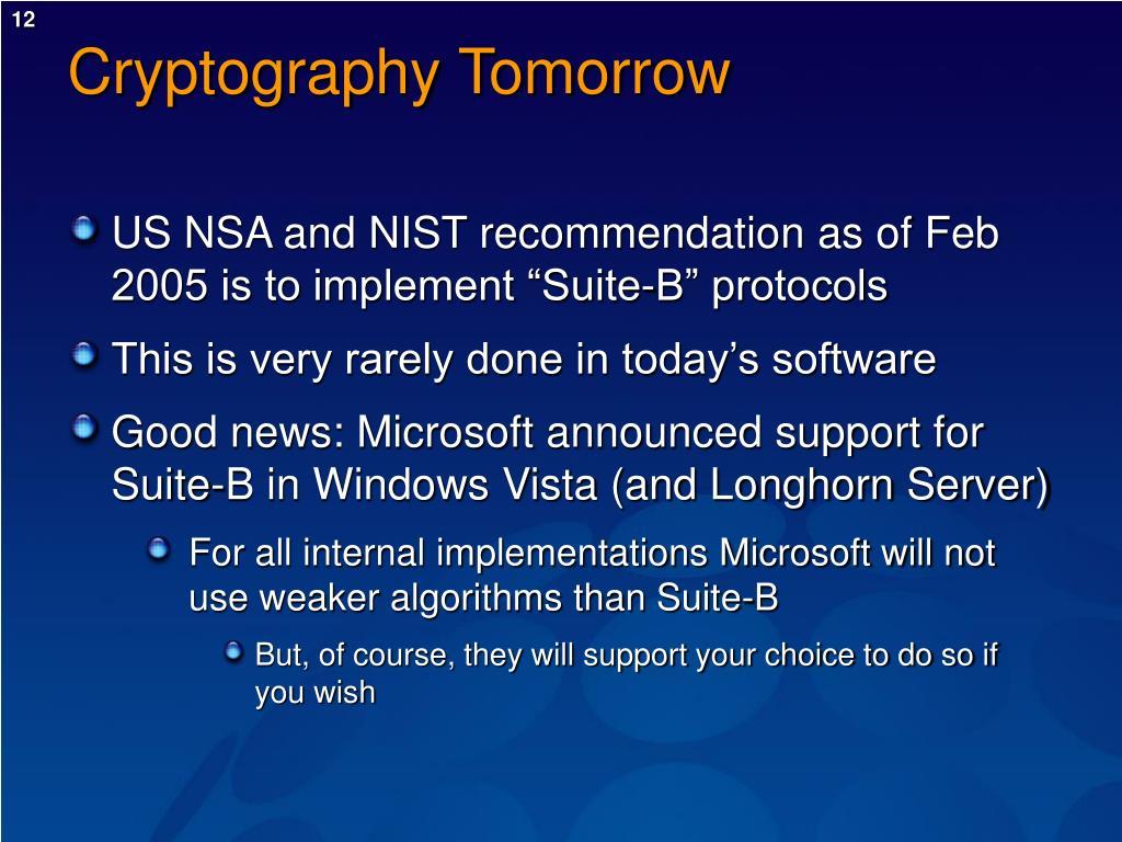 Cryptography Tomorrow