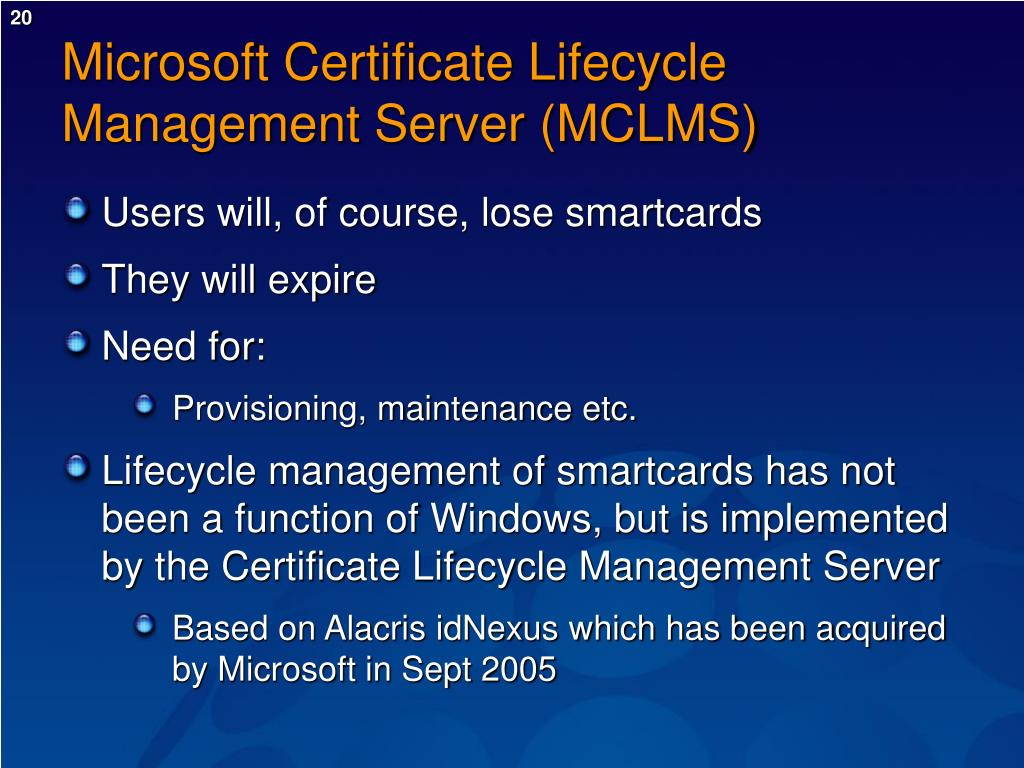 Microsoft Certificate Lifecycle Management Server (MCLMS)