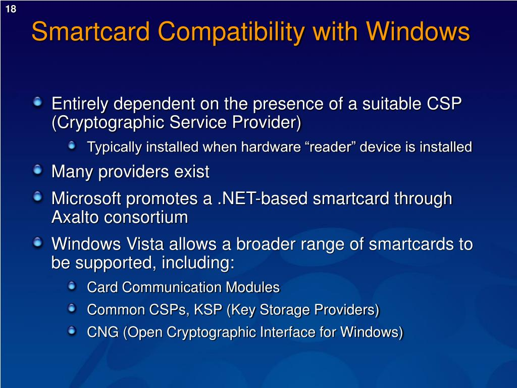 Smartcard Compatibility with Windows