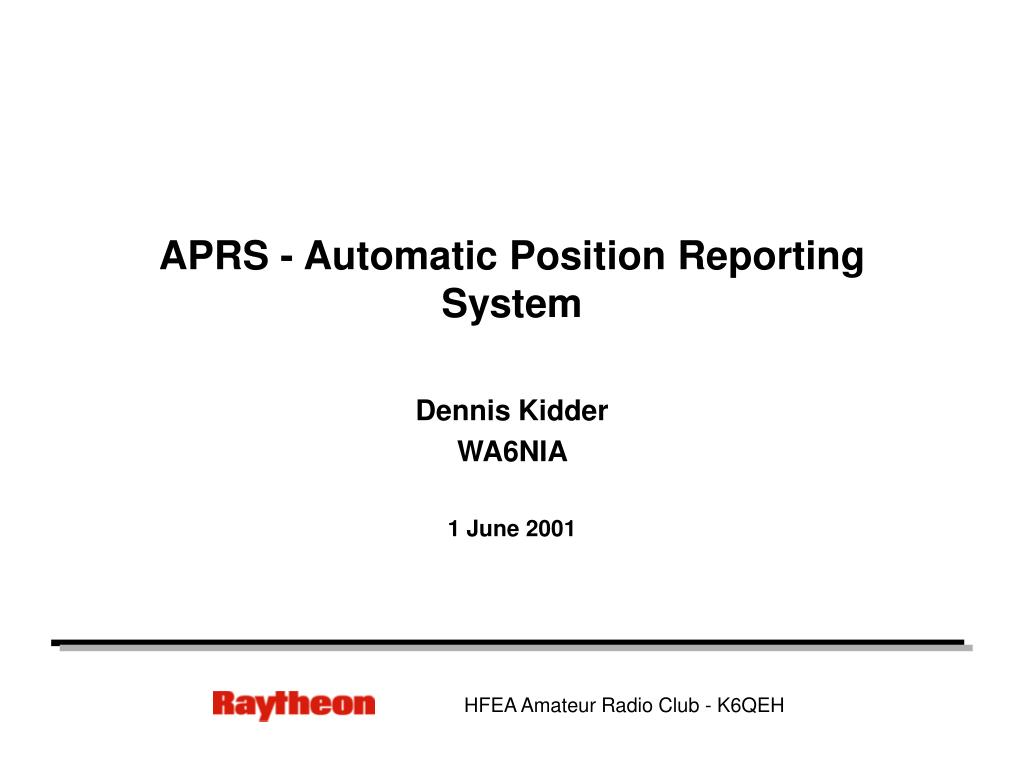 aprs automatic position reporting system l.