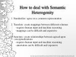 how to deal with semantic heterogenity