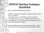 mwsaf matching techniques elemmatch