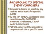 background to special event composers