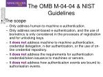 the omb m 04 04 nist guidelines