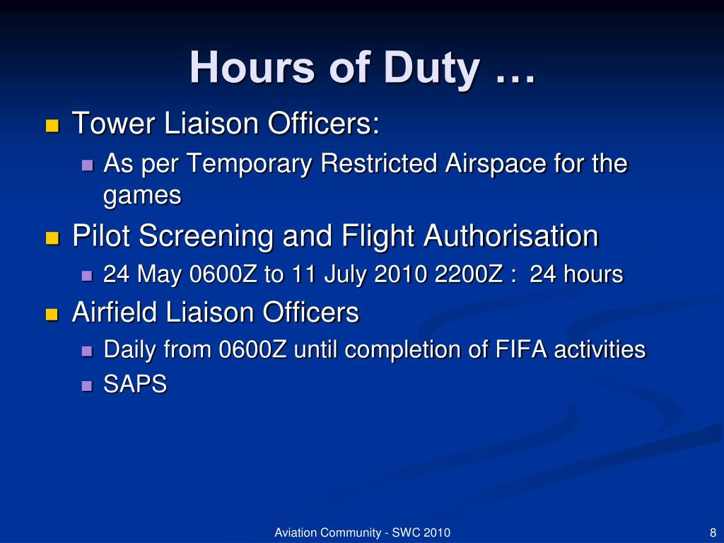 Hours of Duty …