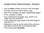usable rank determination solution