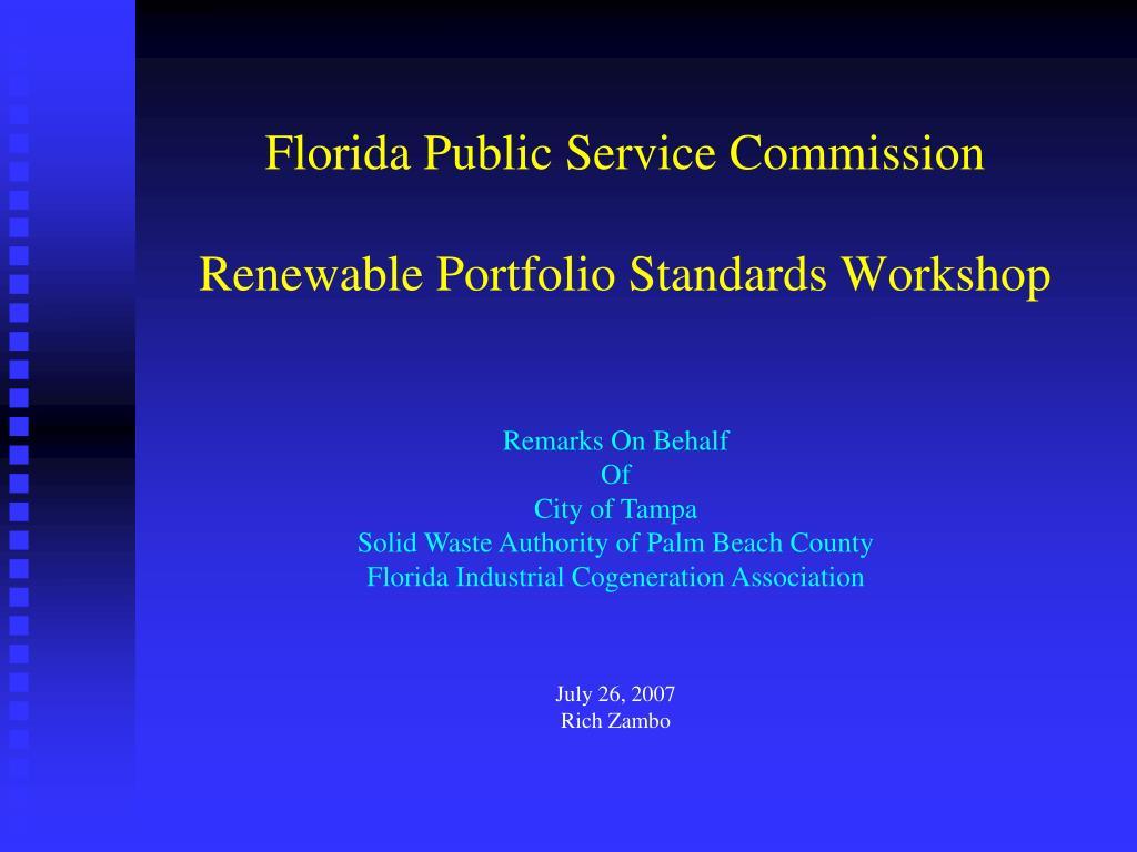 florida public service commission renewable portfolio standards workshop l.