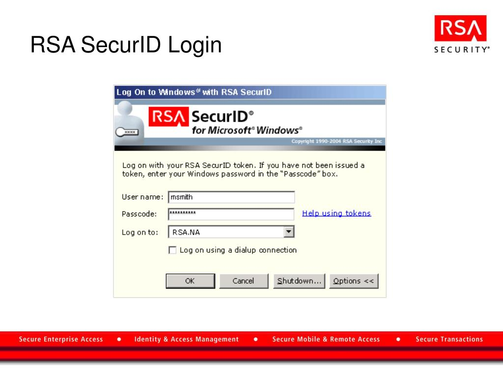 PPT - RSA SecurID ® for Microsoft ® Windows ® PowerPoint