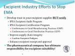excipient industry efforts to stop ema