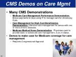 cms demos on care mgmt