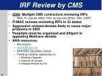 irf review by cms