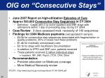 oig on consecutive stays